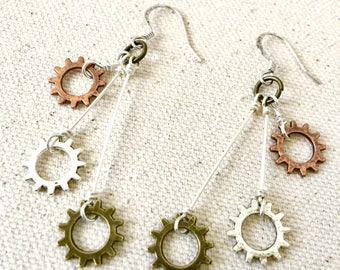 Triple Chainring Bike Dangle Earrings / Bike Earrings, Bicycle Earrings, Bike Jewelry, Bicycle Jewelry, Bike Gears, Bike Parts