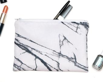 """White Marble Makeup bag case Timeless Zipper Pouch Gadget bag Travel Purse Pouch Clutch Choose lining & zipper 8"""" x 5 1/2"""" Organizer zip bag"""