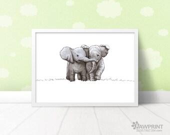 Twin Elephants safari nursery art, baby shower gift for twins, elephant nursery new baby gift, twin nursery décor girl, nursery décor boy