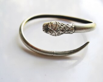Serpent Bracelet Vintage Asian Bangle Sterling Silver Art Deco Serpent Jewelry