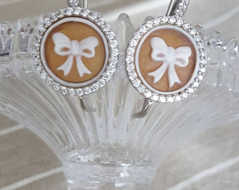 Authentic 925 Silver earrings with hand-carved cameos on sardonica with cubic zirconia