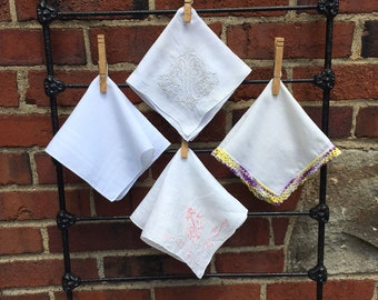Vintage Hankie Lot, Vintage Handkerchief Lot, Bridal Handkerchief, Embroidered Hankies, Bouquet Hankies