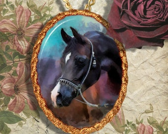 Black Arabian Horse Jewelry Pendant Necklace Handcrafted Ceramic