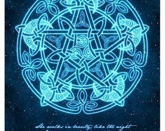 Celtic Moon Pentacle with Poem-  Pagan Wiccan Print - Brigid Ashwood