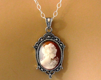 Small Cameo Necklace: Victorian Woman Peach Cameo Necklace, Sterling Silver, Vintage Inspired Romantic Victorian Jewelry, Great Gift for Her