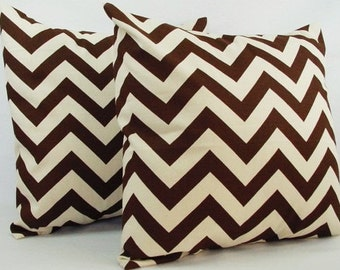2 Chevron Decorative Pillow Covers Brown and Beige - Brown Throw Pillow Cushion Cover 12x16 12x18 14x14 16x16 18x18 20x20 22x22 24x24 26x26