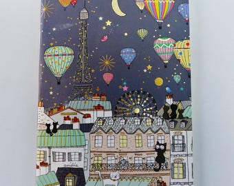 notebook Paris rooftops of Paris Eiffel Tower cat gold note balloon sketch travel 10 x 15 cm 6 x 4 inch ivory 24 pages
