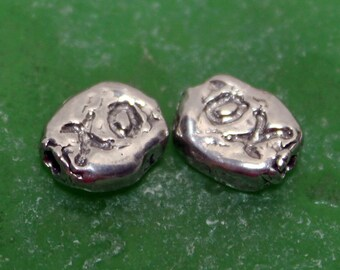 Beads XO Sterling Silver Oval Rustic Bead  BP331xo