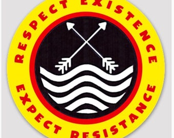 """RESPECT EXISTENCE - Water Protector Symbol  3"""" Weatherproof Sticker"""