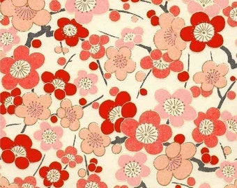 Chiyogami or yuzen paper - fresh blossoms in pink and red, 9x12 inches