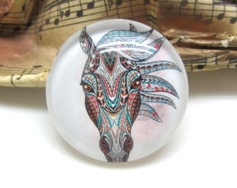 2 cabochons 14 mm glass horse Tribal 2-14 mm