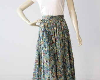 1950s circle skirt, vintage full skirt with geometric print