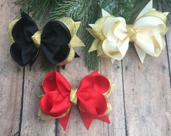 Black and Gold Bow - Red and gold Bow - cream and gold bow - Gold bows - Small gold bows - Holiday Bows - Dressy Bows - Sparkle Bows - Bow