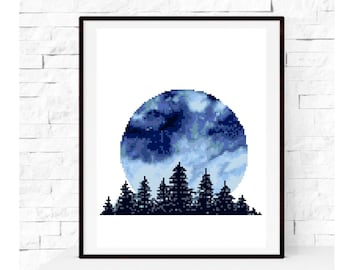 Modern Cross Stitch Pattern, nature, landscape, forest, round, trees, counted cross stitch, embroidery, instant download PDF, DIY