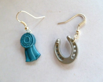 Earrings Mix and Match Collection Equestrian Blue Ribbon and Horseshoe Dangles
