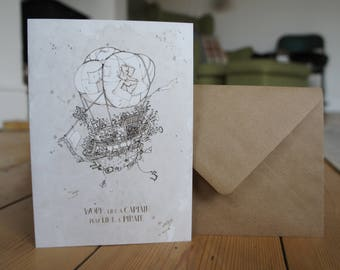 Steampunk Pirate Ship / Airship Greetings Card