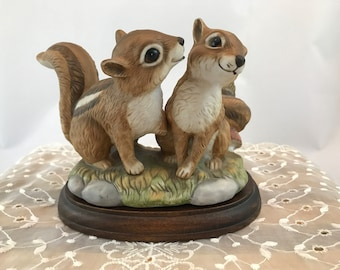 Sweetheart Chipmunks Figurine - Masterpiece Porcelain by Homco