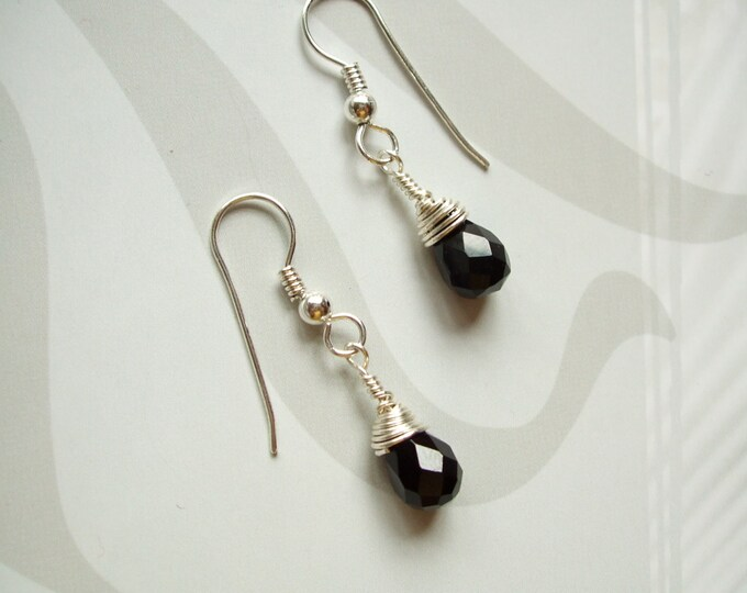 Black Onyx teardrop earrings Sterling Silver - wire wrapped - February Birthstone jewellery gift