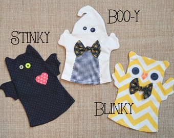 COMBO Halloween Puppet PDF Pattern and Printable Halloween Card with Puppet Pattern