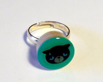 Mood Rings Emoji - Wooden Rings - Cat Lovers Gift - Black Cat