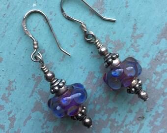 Purple Lampwork Glass 925 Drop Earrings Vintage