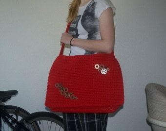 Steampunk Gears Red Messenger Bag