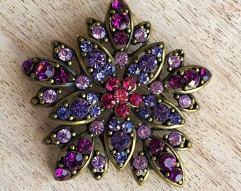 Sparkling vintage brooch with colored crystals, antique gold color. Gift for her.