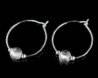 Crystal Silver Venetian Murano Glass Sterling Silver Hoop Earrings - Georgia. Free Gift Wrapping