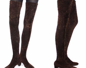 1970s Brown Thigh-High Boots With Elastic Ruched Velvet