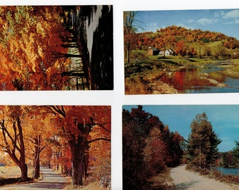 Lot Of 4 Vintage Fall Foliage Postcards