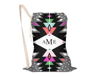 Laundry Bag, Oversided Drawstring Bag, Laundry Tote, Laundry Drawstring Bag, Monogrammed, Personalized: Boho Thunder 1