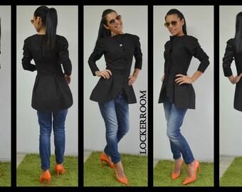 Black Jacket, Women Jacket, Womens Blazer, Cotton Jacket, Trench Coat, Black Trench Coat, Trench Coat Women Made By LOCKERROOM