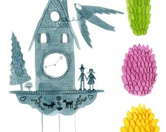 Cuckoo Clock and Pinecones
