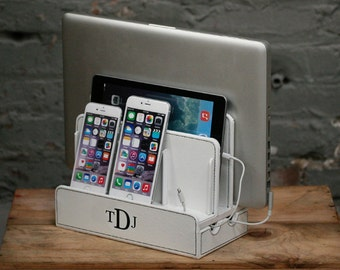 Customized Family White Vegan Leather Multi Charging Station and Dock with Cord Organizer | Monogram | Personalized