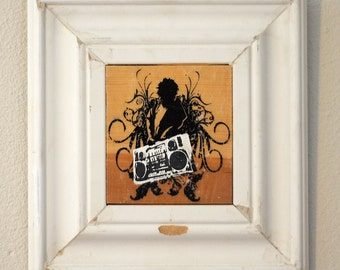 Fro Ghetto Blaster Acrylic Transfer Framed