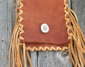 Leather waist bag ,  Fringed leather hip bag ,  Fringed belt bag