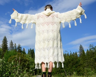 Crochet Sweater Robe White Tassels