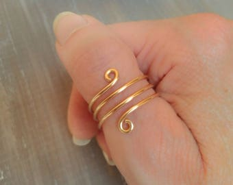 Thin ring, thumb ring, boho style, gold color, spiral ring, woman ring, women's gift