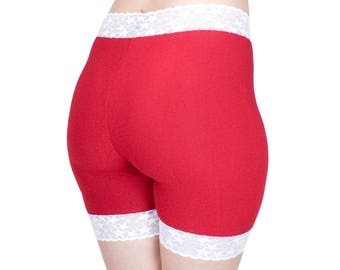 Red and White Shorties, Organic Bamboo Shorts, Red and White Stars Lace, Cute Gifts for Her
