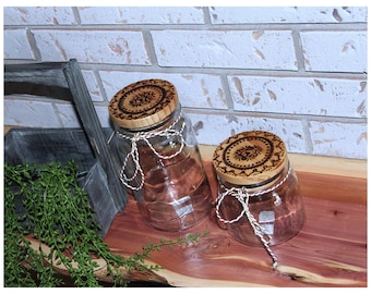 Custom Burned Glass Jars. Farmhouse Canisters.