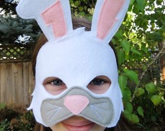 White Rabbit Mask - Bunny Mask - Woodland Animal - Forest Animal - Dress Up - Easter Bunny - Halloween
