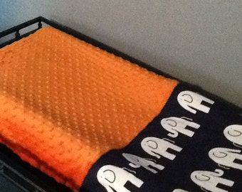 Orange and Navy elephants Changing Pad Cover, baby shower gift, made to order