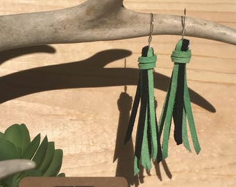 Green and Black Fringe Leather Earrings