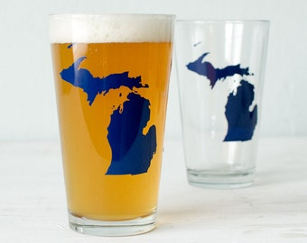 Michigan pint glass - navy blue, yellow, forest green, or red