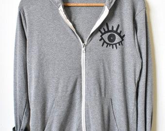 Third Eye- Rose Quartz Crystal- Zip Up Hoodie- Yoga Sweatshirt- Zen- Gemstone Shirt- Gifts for Her. MADE TO ORDER