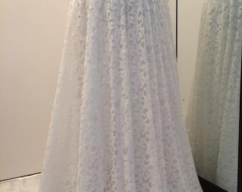 White Lace Maxi Skirt , Floor Length Skirt, Wedding skirt