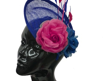 Sinamay Rose Blue and Fuchsia Hot Pink Disc Saucer Hatinator Fascinator On Headband Wedding