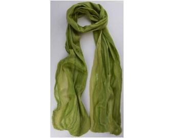 Merino / Silk Cobweb Felted Scarf - Lime