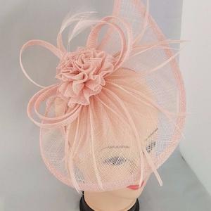 Elegant Light Baby Pink Colour Sinamay  Tear Drop Feather Flower Hair Fascinator Headband