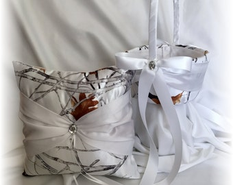 Snow Camo Wedding Ring Pillow and Flower Girl Basket, White Ring Pillow, Snow Camo Wedding, True Timber Ring Pillow, White Camo Wedding